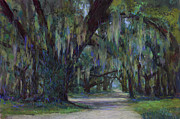 Landscapes Pastels Framed Prints - Spanish Moss Framed Print by Billie Colson