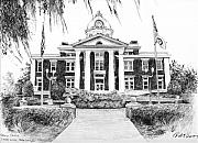 Pasco County Prints - Spanish Moss Courthouse Print by Rod Varney