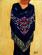 Shawl Painting Originals - Spanish Shawl with Fringe by Maria Soto Robbins