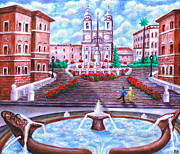 Dei Paintings - Spanish Steps - Trinita Dei Monti Church by Ronald Haber