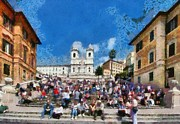 Dei Paintings - Spanish steps at Piazza di Spagna by George Atsametakis