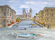 Steps Painting Posters - Spanish Steps in Roma Poster by Bonnie Sue Schwartz