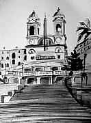 Rome Drawings Framed Prints - Spanish Steps Framed Print by Laura Rispoli