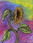 Cheerful Drawings Prints - Spanish Sunflower Print by Sarah Loft