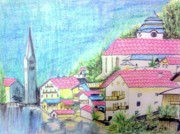Lively Drawings - Spanish village by Smitha Kamath