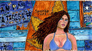 Surfer Girl Paintings - Spark-e Surf by Phil Strang