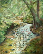 Salmon Painting Posters - Sparking Spring Day at Salmon River Poster by B Rossitto