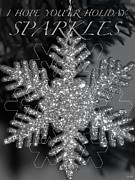 Snowflake Mixed Media Posters - Sparkle Holiday Card Poster by Debra     Vatalaro