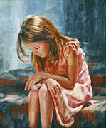 Child Praying Paintings - Sparkle Plenty by Katherine Tucker