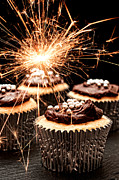Bonfire Night Posters - Sparkler Cupcakes Poster by Christopher and Amanda Elwell