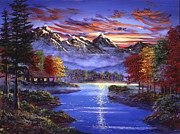 Autumn Trees Painting Prints - Sparkling Lake Print by David Lloyd Glover