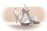 Straps Prints - Sparkling Wedding Shoes Print by Ashley Klein