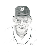 Detroit Tigers Drawings - Sparky by Bob Garrison