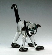 Dog Glass Art Originals - Sparky by Rosanne Wellmaker