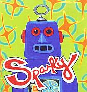 Toy Painting Posters - Sparky the Toy Robot Poster by Lynnda Rakos