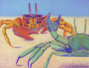 Sea Pastels Prints - Sparring for Supper Print by Tracy L Teeter