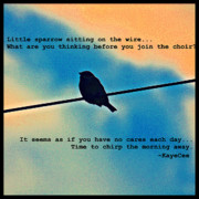 Kayecee Spain Framed Prints - Sparrow On The Wire- Fine Art And Poetry Framed Print by KayeCee Spain