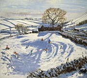 Winter Landscape Paintings - Sparrowpit Derbyshire by Andrew Macara