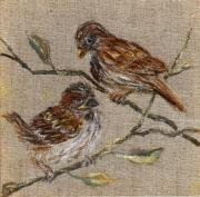 Chalk Drawing Metal Prints - Sparrows Metal Print by Birgit Schlegel