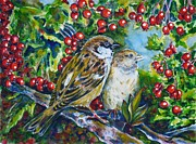 Hawthorn Prints - Sparrows on the hawthorn Print by Zaira Dzhaubaeva