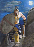 Eric Kempson Painting Prints - Spartan Warrior one of the three hundred at night Print by Eric Kempson