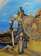 Ellenisworkshop Paintings - Spartan Warrior one of the three hundred by Eric Kempson