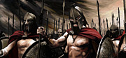 Hand Painted Digital Art - Spartans 300 by James Shepherd