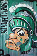 Basketball Abstract Painting Framed Prints - Spartans Framed Print by Julia Pappas