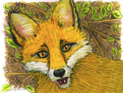 Red Eyes Pastels Posters - Speaking Fox Poster by Laura Brightwood