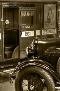 Ford Model A Framed Prints - Special Delivery Trucks Sepia Framed Print by Ken Smith