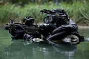Automatic Weapons Posters - Special Forces Combat Diver Takes Poster by Tom Weber