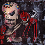 Skull Paintings - Special Friends by  Abril Andrade Griffith