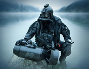 Kneeling Photo Prints - Special Operations Forces Combat Diver Print by Tom Weber