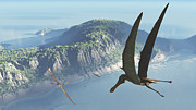 Pterosaur Framed Prints - Species From The Genus Anhanguera Soar Framed Print by Walter Myers