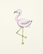 Flamingo Drawings - Speckled Flamingo by Tessa Easley