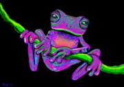Whimsical Frogs Posters - Speckled frog on a vine Poster by Nick Gustafson