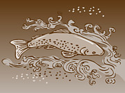 Salmon Digital Art Posters - Speckled Trout Fish Poster by Aloysius Patrimonio