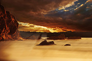 Weather Digital Art Posters - Spectacular sunset on the coast Poster by Jaroslaw Grudzinski