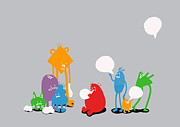 Cartoon Monster Prints - Speech Bubble Print by Budi Satria Kwan