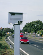 Speed Trap Framed Prints - Speed Camera By Side Of Dual Carriageway Framed Print by David Parker