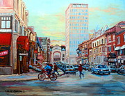Cafes Paintings - Speed Cyclist On Crescent by Carole Spandau