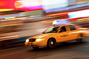 Speeding Taxi Prints - Speeding Cab Print by Brian Jannsen