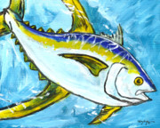 Hawaiian Fish Paintings - Speeding Yellowfin Tuna by William Depaula