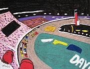 Nascar Paintings - Speedway Race 1 by Lesley Giles