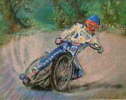 Richard Pastels - SPEEDWAY RIDER Edinburgh Monarchs by Richard James Digance