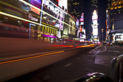 Night Scenes Posters - Speedy Buses in Times Square Poster by Sven Brogren