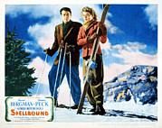 Skiing Poster Framed Prints - Spellbound, Gregory Peck, Ingrid Framed Print by Everett