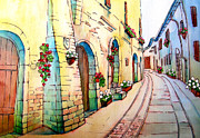 Graphics Paintings - Spello city of flowers by Khromykh Natalia