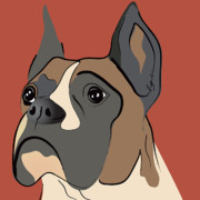Puppy Digital Art Posters - Spencer Boxer Dog Portrait Poster by Robyn Saunders