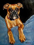 Boxer Paintings - sPepper by Terri Clements